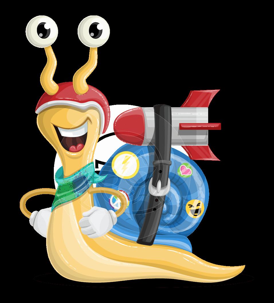 Vector animal cartoon character. Fast clipart snail race