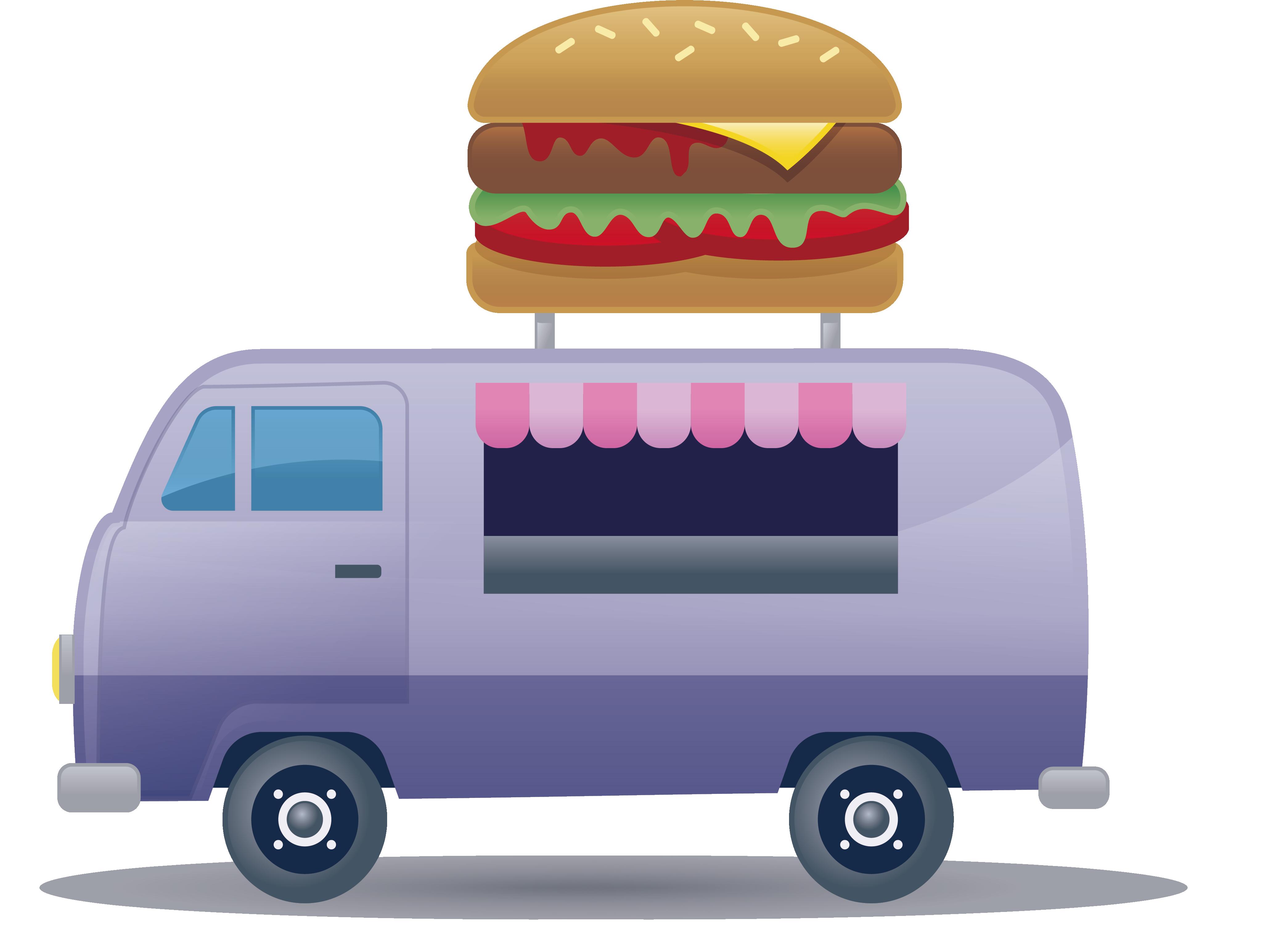 Fast clipart van transport. Food hamburger hot dog
