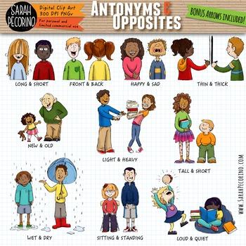 Tall clipart antonym. Antonyms opposites adjectives clip