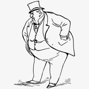 Fat clipart black and white. Person man suit vector