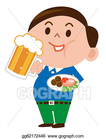 Stock illustration a man. Fat clipart different food