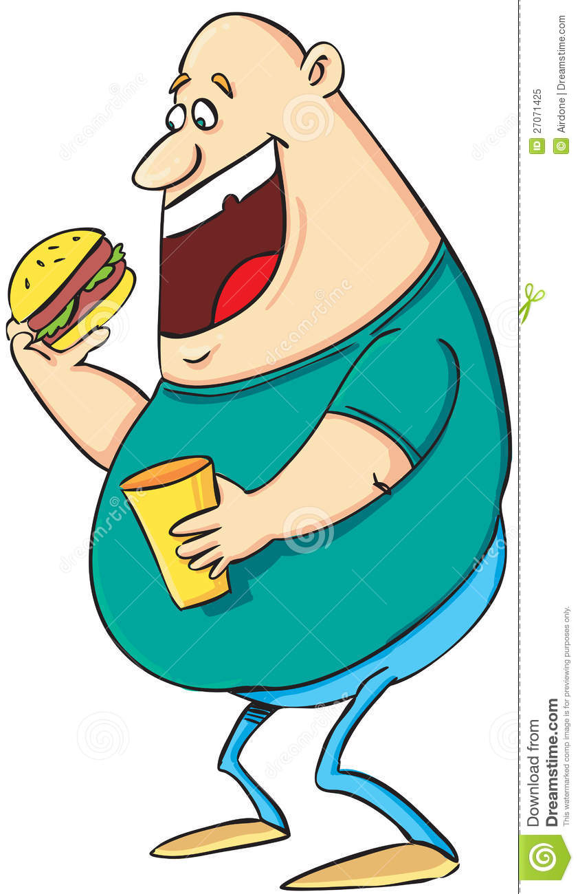 Cartoon pictures of people. Fat clipart fat eating