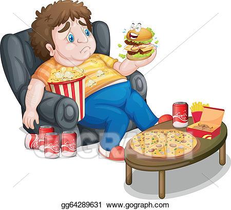 Vector art a boy. Fat clipart fat eating