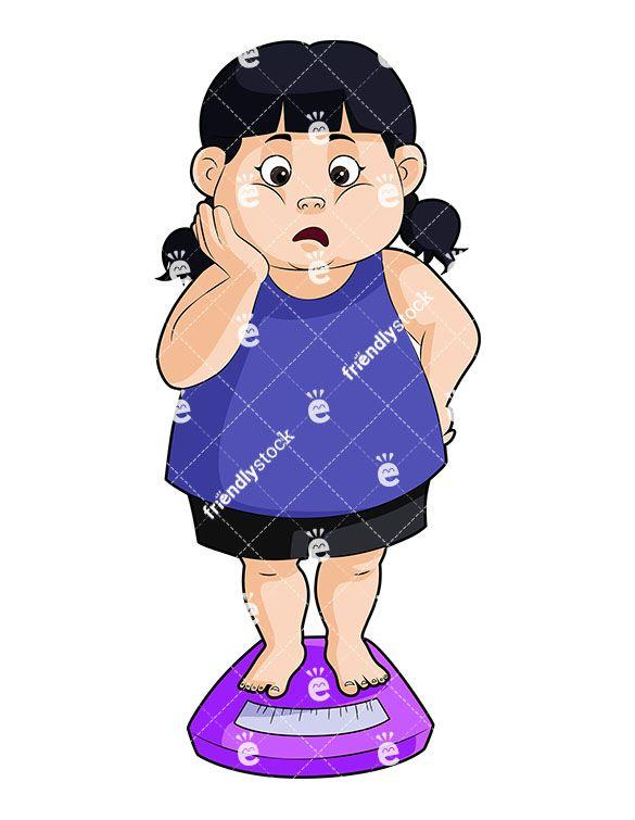 An overweight little girl. Fat clipart fat scale
