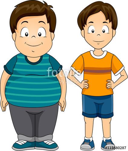 Kids boys thin stock. Fat clipart fat student
