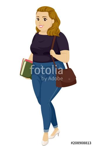 Fat clipart fat student. Teen girl illustration stock