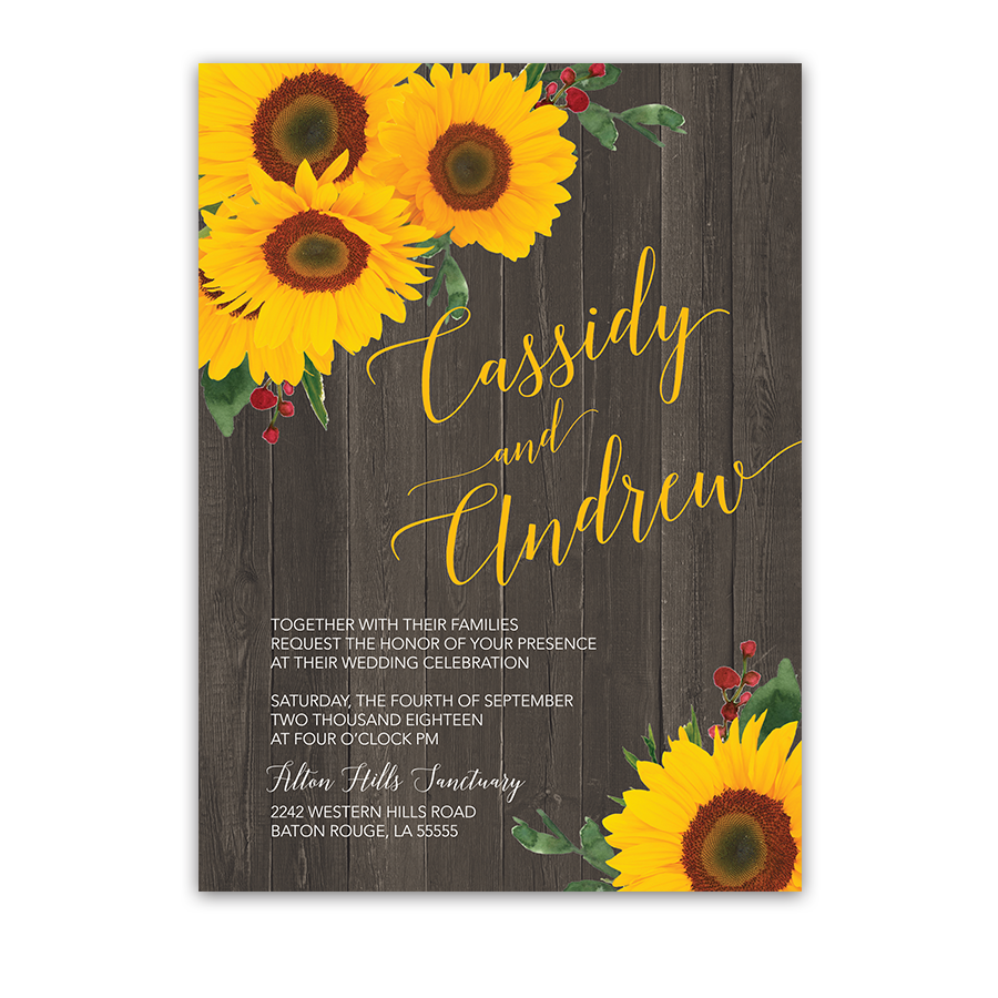 Wedding invitation rustic country. Fat clipart sunflower oil