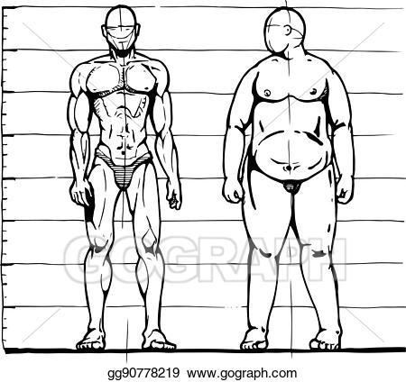Fat clipart thick thin. Vector illustration and man