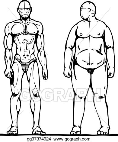 Vector and man illustration. Fat clipart thick thin