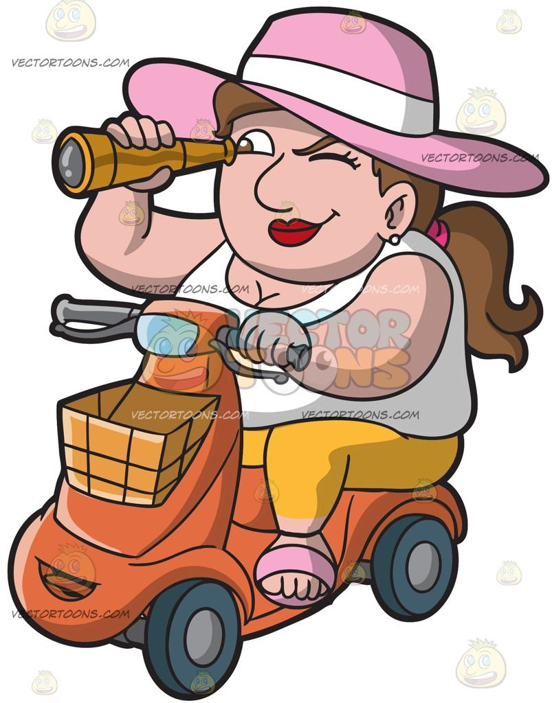 Fat clipart tourist. An overweight lady on