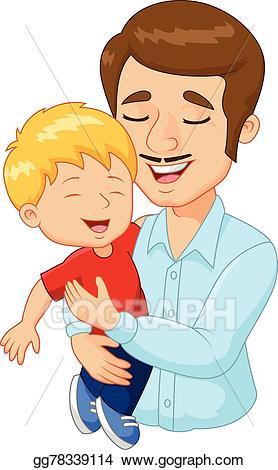 Vector cartoon happy family. Father clipart