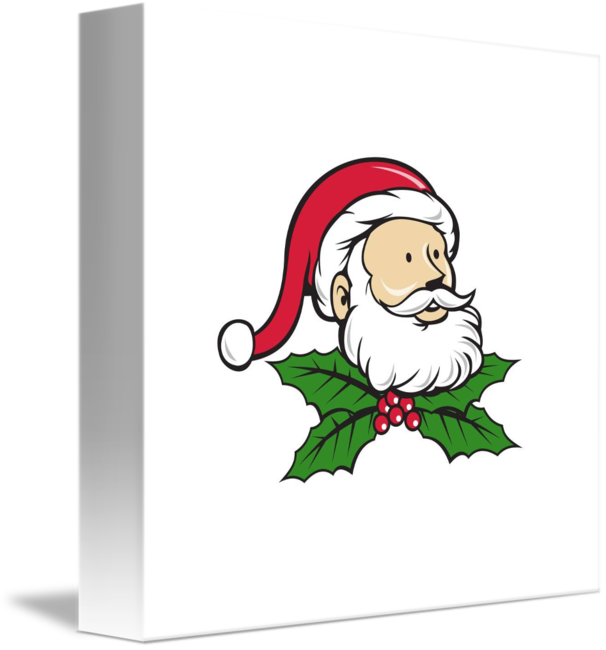 Father clipart father head. Santa claus christmas holly