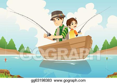 Vector art father and. Fisherman clipart dad son fishing