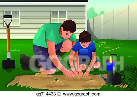 Eps vector and son. Gardener clipart father
