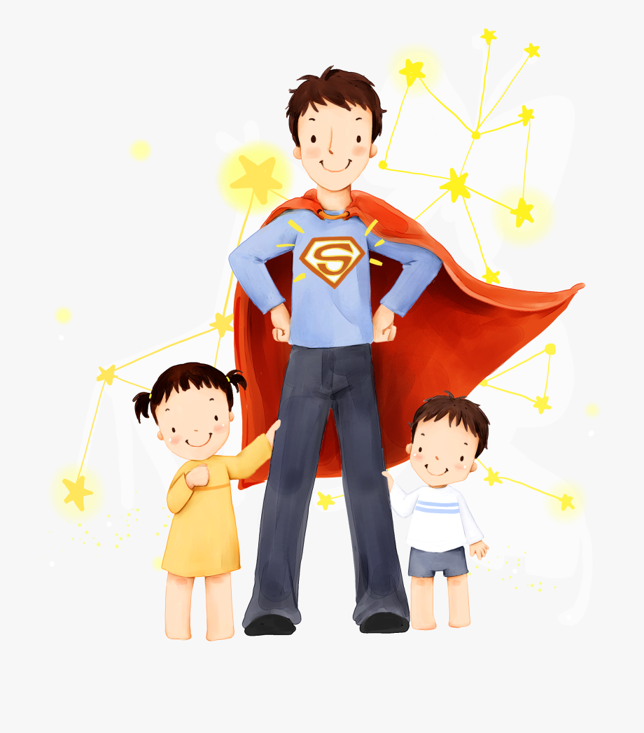 Clark kent son daughter. Father clipart illustration