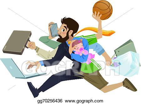 Responsibility clipart busy person. Vector stock cartoon super