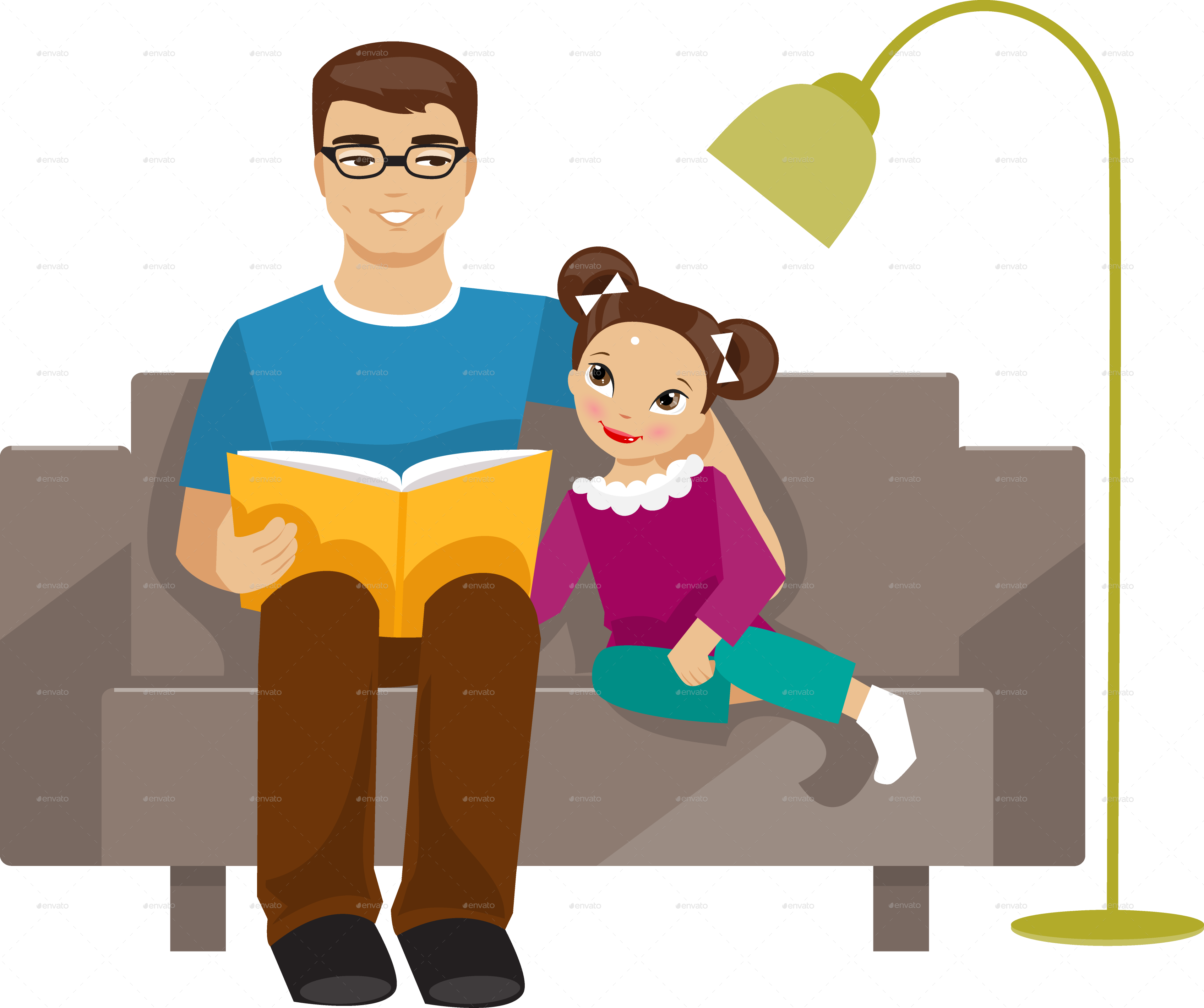 Daughter clip art fathers. Father clipart read with dad