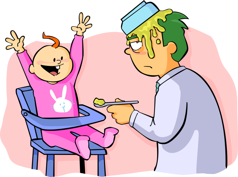 Father feeds baby vector. Number 1 clipart dad