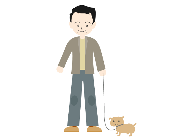 Dad a dog family. Father clipart walking