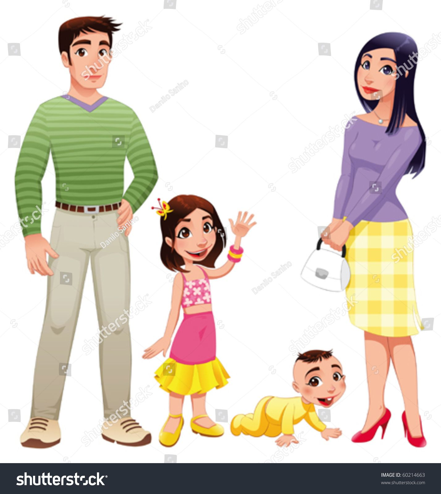 Human family with father. Mother clipart full body