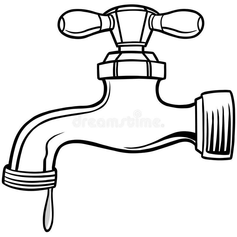 Station . Faucet clipart black and white