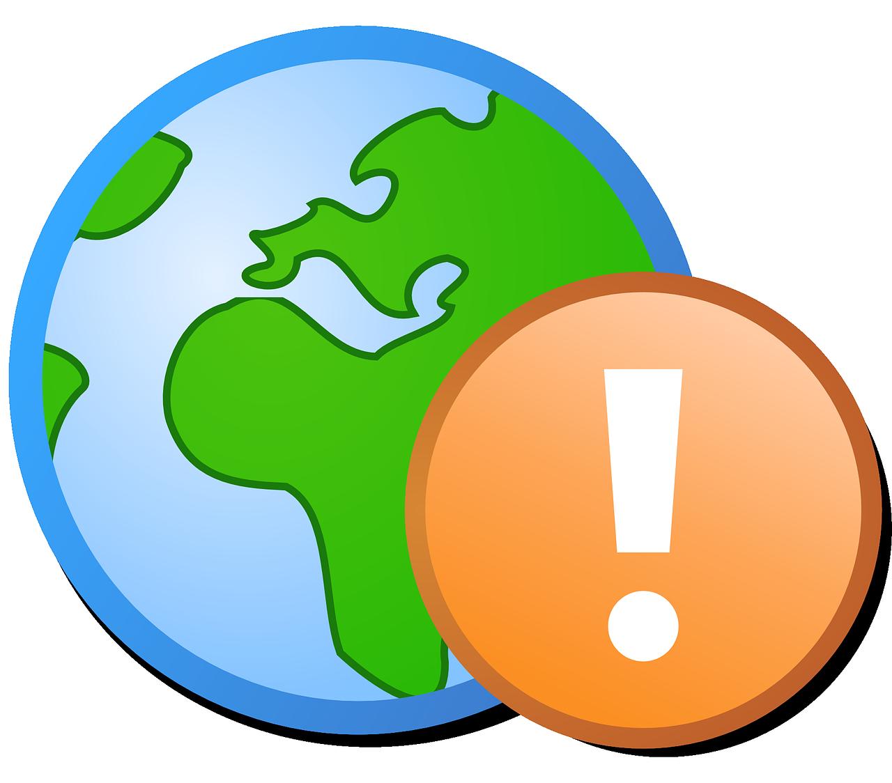 Globe clipart broken. Green blue earth warning