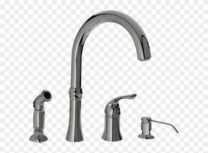 Faucet clipart kitchen faucet. Chrome four hole sink