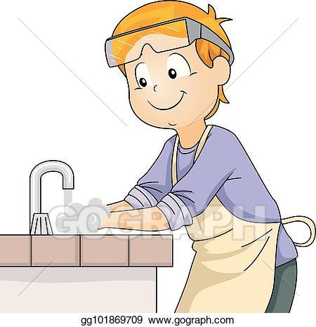 Vector kid sanitize hand. Faucet clipart lab sink