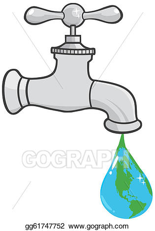 Vector leaking the earth. Faucet clipart leaky faucet