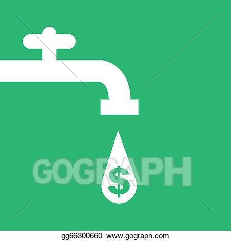 Faucet clipart money. Vector illustration water eps