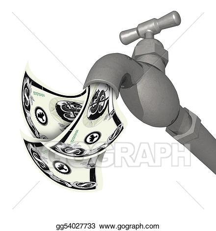 Faucet clipart money. Stock illustration silver running