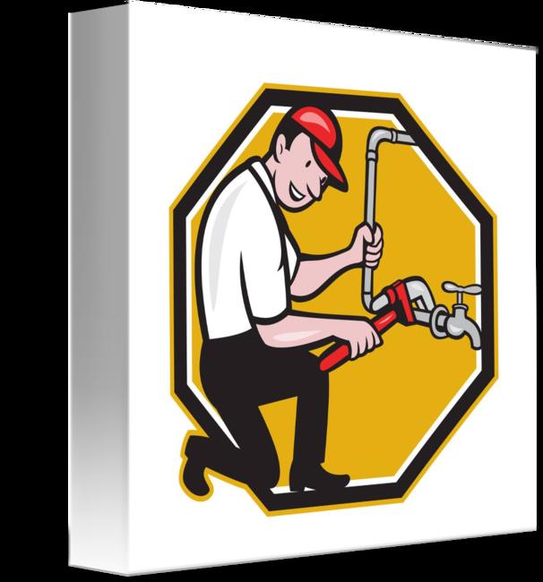 Repair faucet tap cartoon. Plumber clipart retro