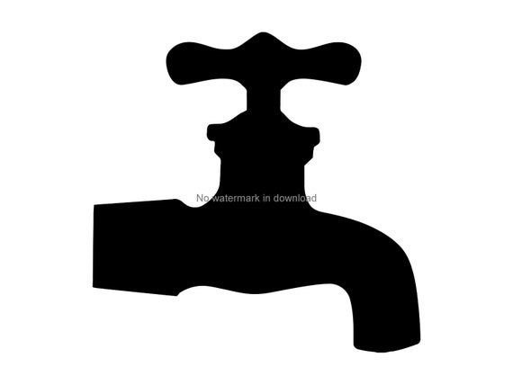 Cutting water cut file. Faucet clipart svg