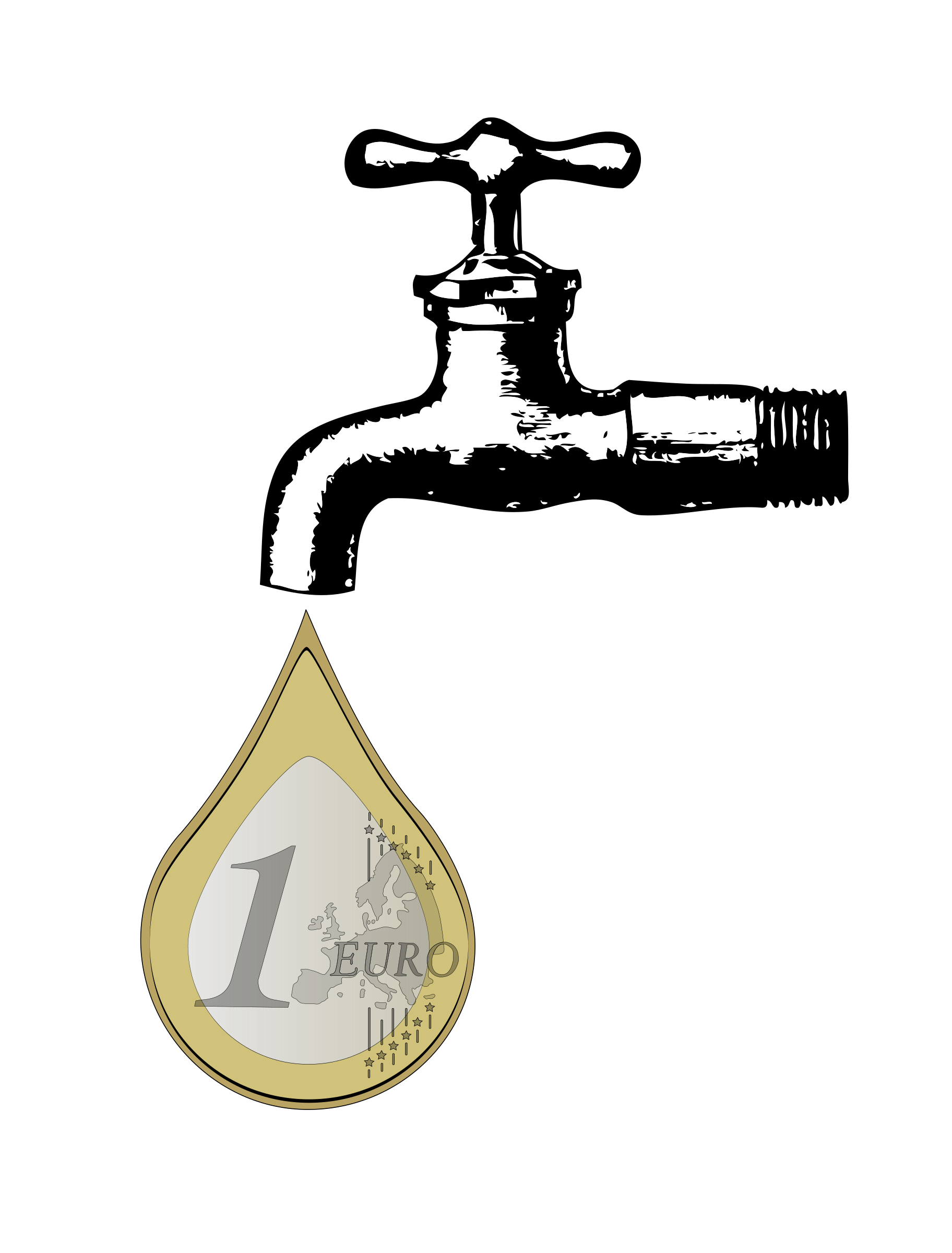 Euro drop. Faucet clipart water drawing