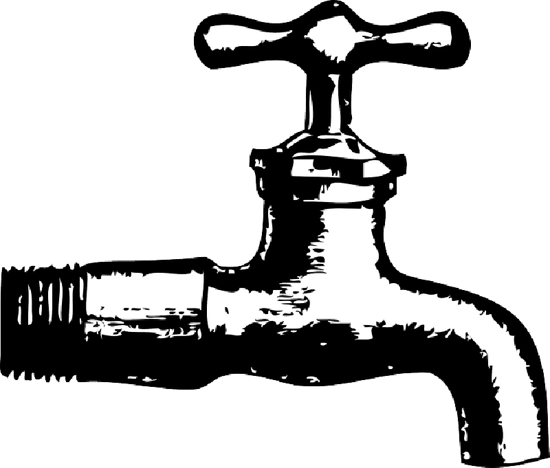 Famous cartoon illustration sink. Faucet clipart water droplet
