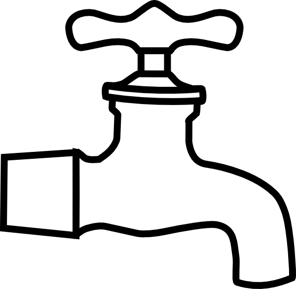 Water faucet black and. Plumber clipart retro
