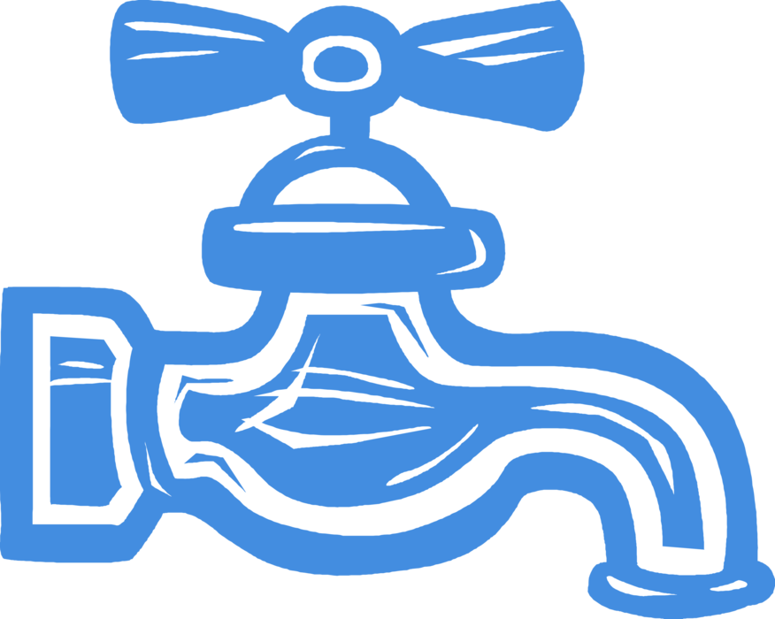 Tap sink vector image. Faucet clipart water main