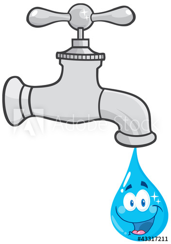 Faucet clipart waterworks. Water with smiling drop