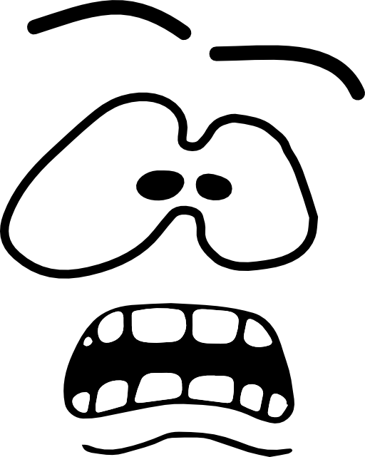 collection of face. Fear clipart black and white