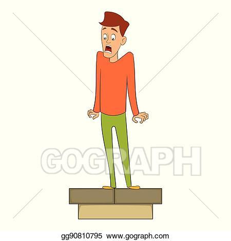 Fear clipart height. Vector of icon cartoon