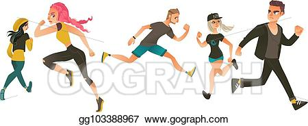 Vector art set of. Fear clipart panicked person