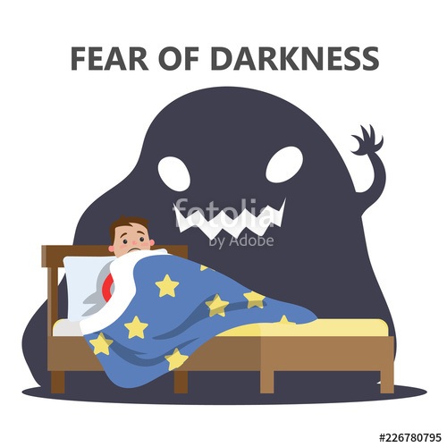Of darkness concept child. Fear clipart unhealthy