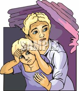 A and child crouching. Fear clipart worried mother