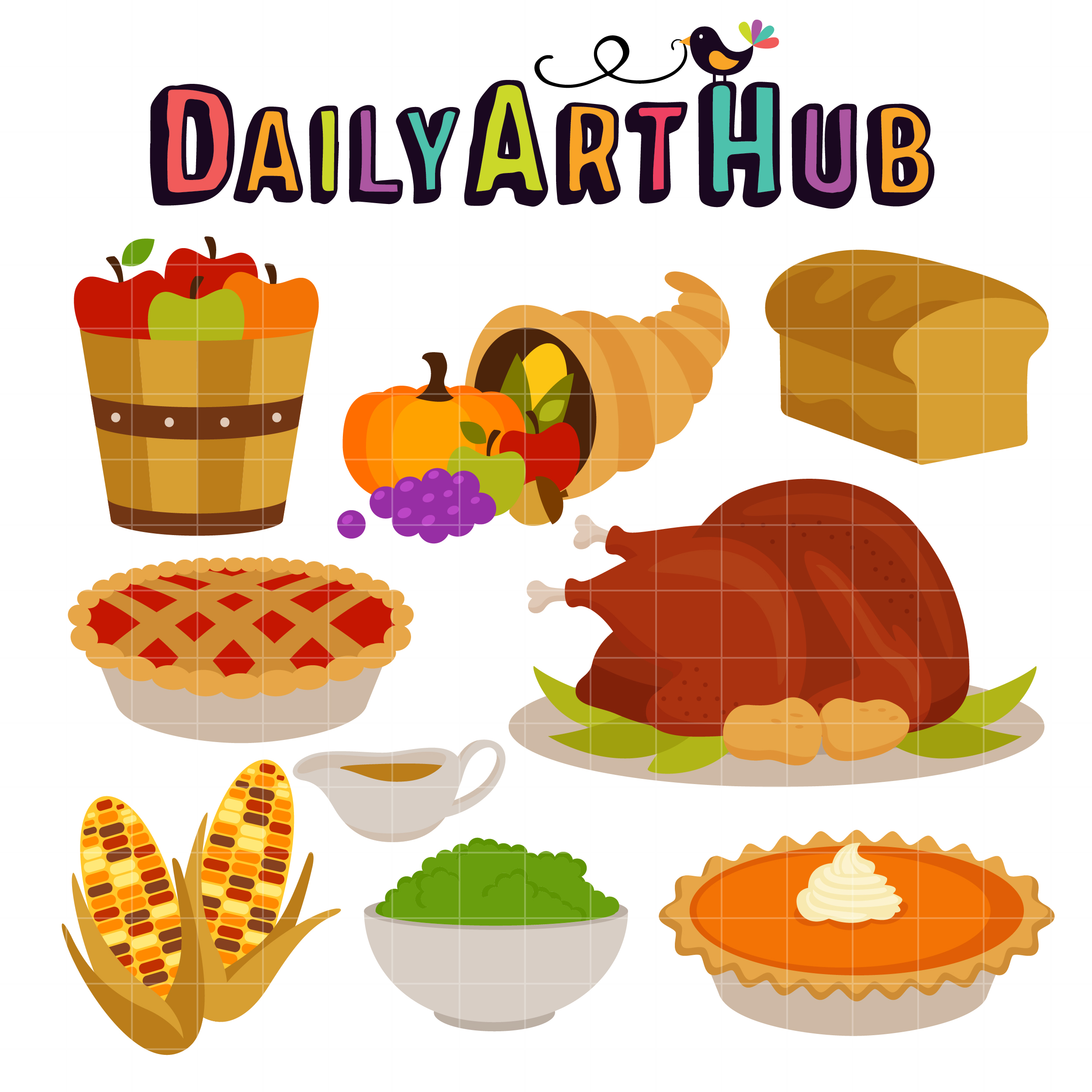 Feast clipart. Thanksgiving clip art set