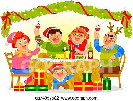 Feast clipart celebration. Vector family celebrating christmas