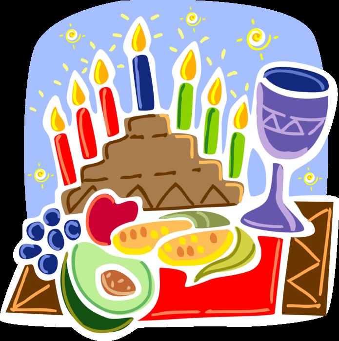 Candle with karamu feast. Kwanzaa clipart kinara