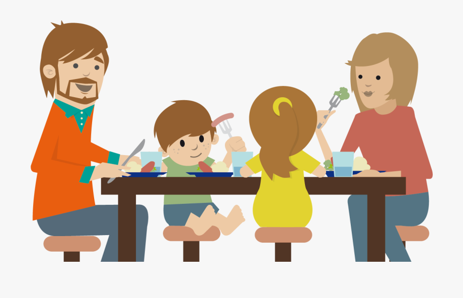 Feast clipart child. Family eating at the