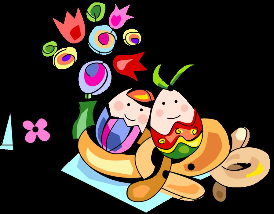 Feast clipart easter. Colored eggs pretzels flowers