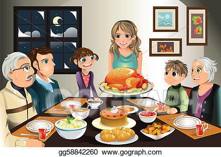 Vector art thanksgiving dinner. Feast clipart family tradition