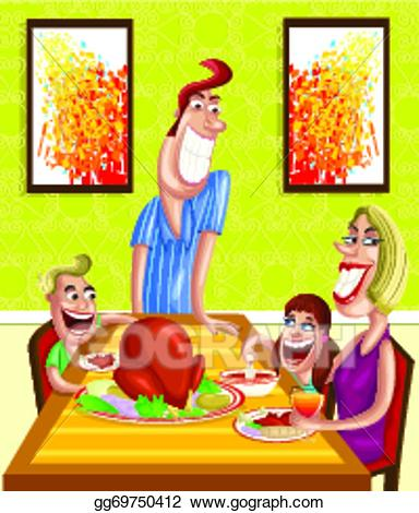 Vector stock at dinner. Feast clipart happy family